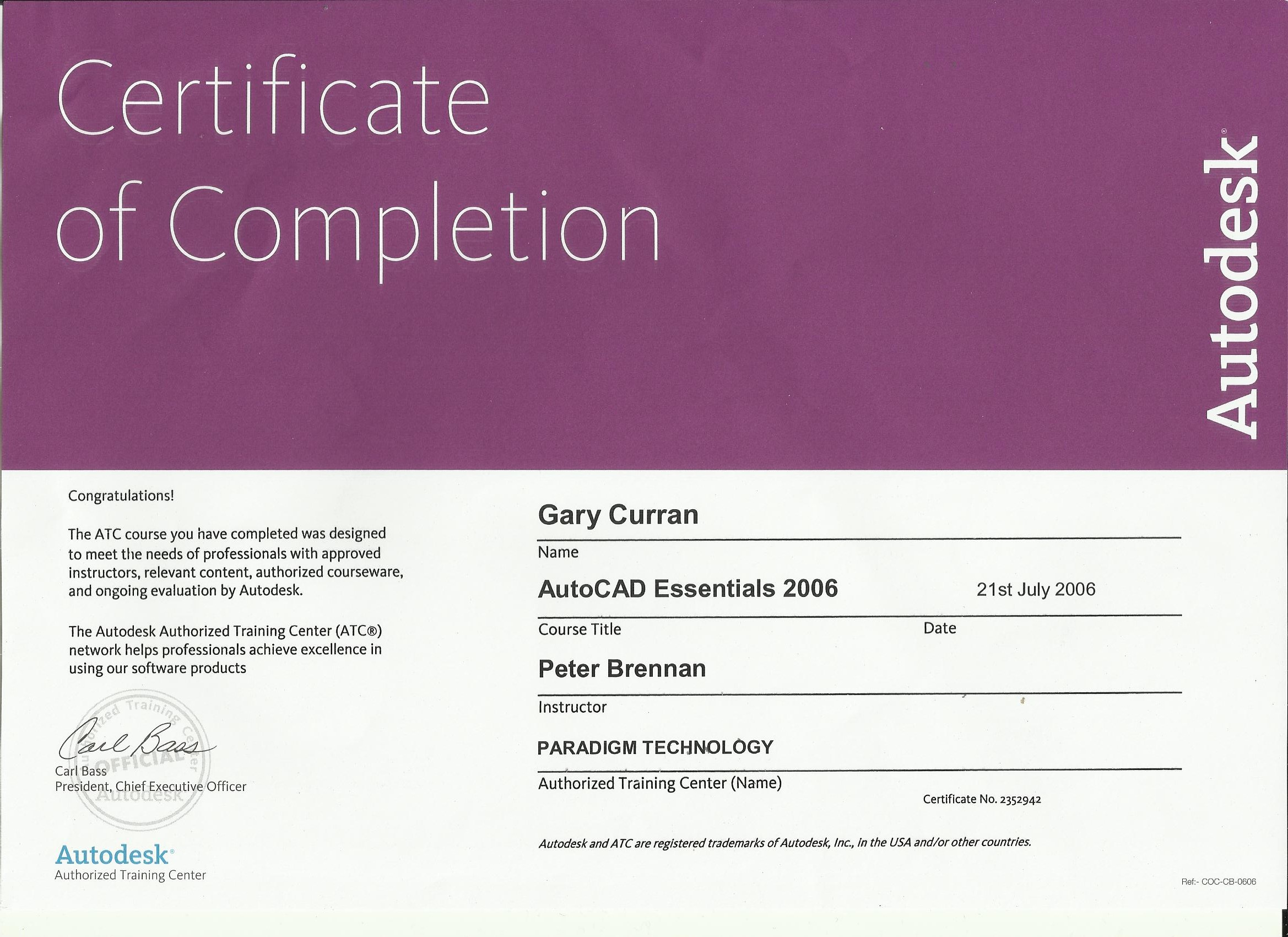 Paradigm autocad certificate 2006 curran electrical services paradigm autocad certificate 2006 curran electrical services dublin ireland 1betcityfo Image collections